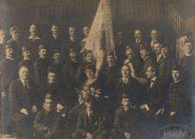 Udruga sv.Rok za posmrtnu pripomoć željezničkih službenika u Zagrebu, Uspomena prigodom posvete barjaka 1922.