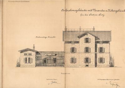 Pročelje i presjek prijamne kolodvorske zgrade  Sinj, pruga Split - Sinj, 1901.