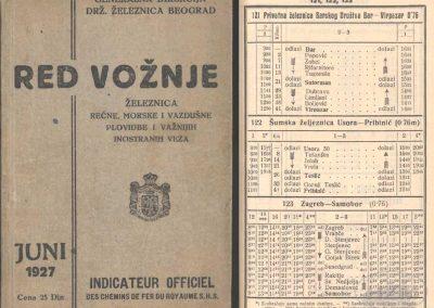 Red vožnje železnica, rečne, morske i vazdušne plovidbe i važnijih inostranih veza, Generalna direkcija državnih željeznica Beograd, 1927.