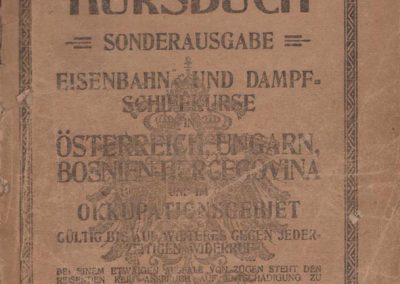 Poseban izvadak iz željezničkog i parobrodskog voznog reda u Austriji, Mađarskoj, Bosni i Hercegovini i na okupiranom području, Waldheim-Eberle, Beč, 1918.