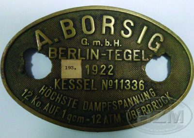 Ploča proizvođača parnog kotla: tvornica A. Borsig G.m.b.h., Berlin, 1922.