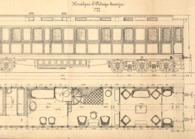 Kraljevski vagon Kraljevskih ugarskih državnih željeznica (projektna shema)